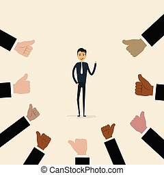 zakenman, zakelijk, compliment, concept., prestatie, pictogram, acknowledgement, duimen, velen, trots, succes