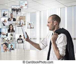 zakenman, zijn, blik, team