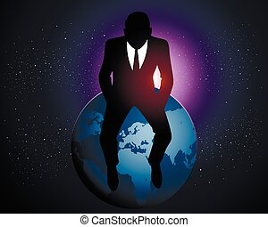 zakenman, zittende , aarde