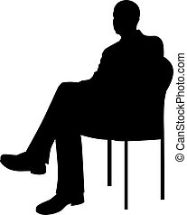 zakenman, zittende