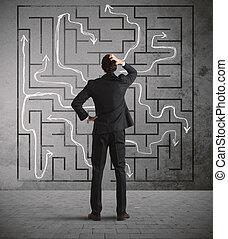 zakenman, zoeken, de, oplossing