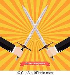 zakenman, zwaarden, vecht