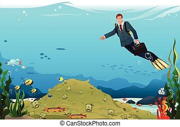 zakenman, zwemmen, grondig, geld