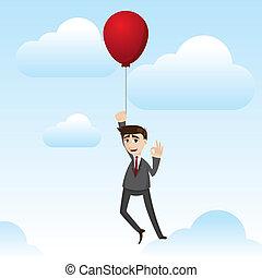 zakenman, zwevend, spotprent, balloon