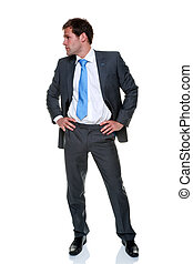zakenmankostuum, pinstripe, grijze , vrijstaand