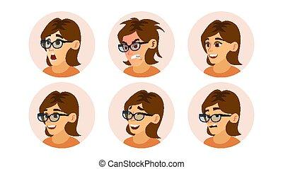 zakenmens , avatar, vector., vrouw confronteren, emoties, set., kantoorbediende, girl., vrouwlijk, creatief, default, avatar, placeholder., moderne zaken, girl., spotprent, komisch, kunst, plat, vrijstaand, illustratie
