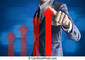 zakenmens , beroeren, moderne, interface, groei, op, winst,...