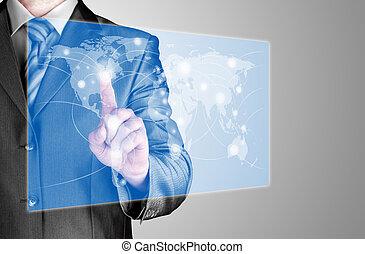 zakenmens , beroeren, wereldkaart, en, verbinding