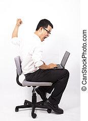 zakenmens , boos, voor, computer botsing