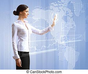 zakenmens , en, touchscreen, technologie