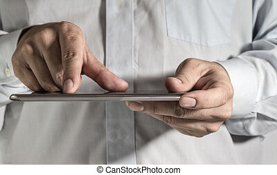 zakenmens , hand, doorwerken, een, digitaal tablet