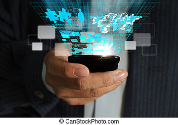 zakenmens , hand, gebruiken, mobiele telefoon, streaming, feitelijk, zakelijk, netwerk, proces, diagram
