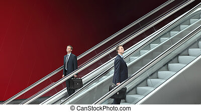 zakenmens , het uitgaan, en, dons, escalators