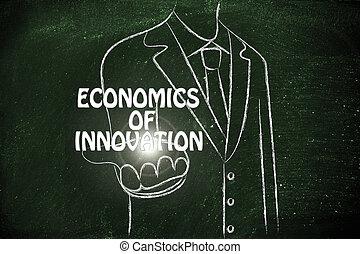 zakenmens , het verstrekken, de, woord, economie, van,...