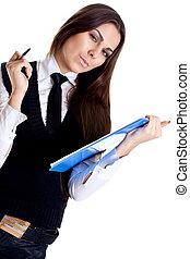 zakenmens , in, een, kostuum, met, klembord