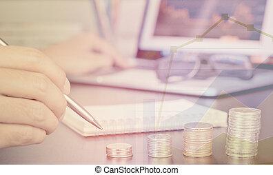 zakenmens , is, analyzing, de aandelenmarkt, online