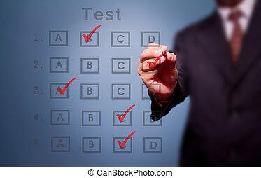 zakenmens , maken, keuze, op, testresultaat, vorm