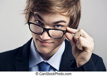 zakenmens , met, bril