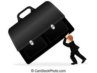 zakenmens , met, een, koffer