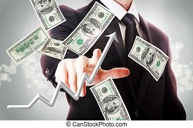 zakenmens , met, honderd dollars, rekeningen