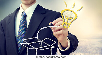 zakenmens , met, idee, gloeilamp, komst, 'out, van, de, box'