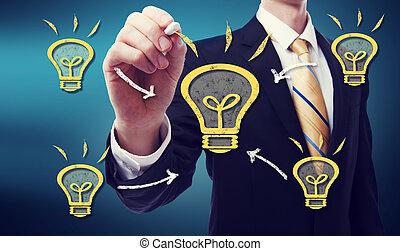 zakenmens , met, idee, lightbulb