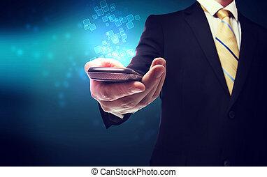 zakenmens , met, mobiele telefoon