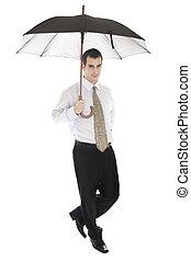 zakenmens , met, paraplu