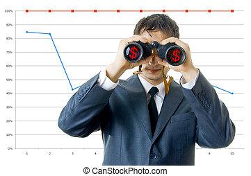 zakenmens , met, verrekijker, het kijken, om te, de, income.