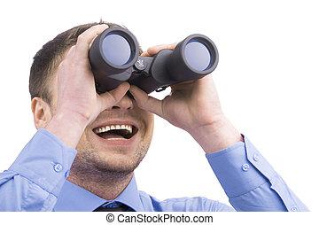 zakenmens , met, verrekijker, op wit, achtergrond., man, vervelend, blauw hemd, vasthouden, verrekijker