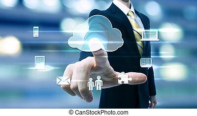 zakenmens , met, wolk, gegevensverwerking, concept