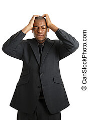 zakenmens , met, zijn, handen op hoofd, schuldig, om te,...