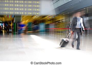 zakenmens , op, de, luchthaven