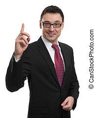 zakenmens , op, richtende vinger