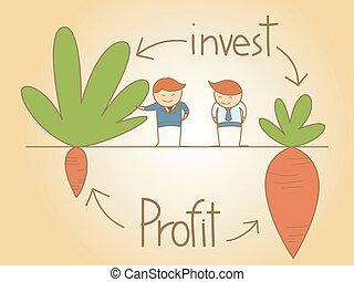 zakenmens , praatje, investeren, en, winst, spotprent,...