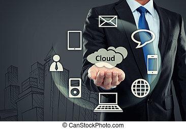 zakenmens , richtend bij, wolk, gegevensverwerking
