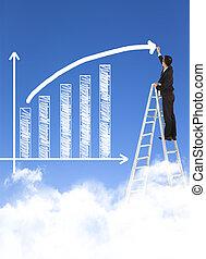 zakenmens , schrijvende , groei, grafiek, met, hemel, achtergrond