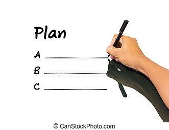 zakenmens , schrijvende , plan, alfabet