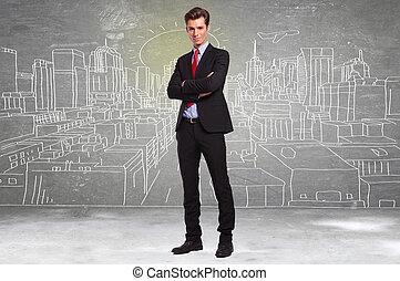 zakenmens , staand, voor, een schets, van, een, grote stad