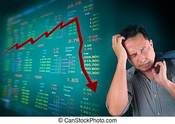 zakenmens , stress, over, het vallen, beursmarkt