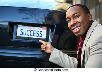zakenmens , succes, (fictional, vergunning, plate)