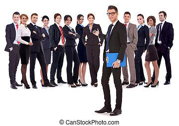 zakenmens , team, zijn, verwelkoming, u