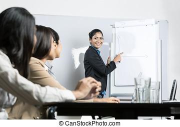 zakenmens , tekening, tabel, op, vergadering