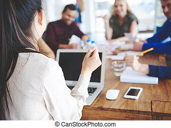 zakenmens , toonaangevend, een, ongedwongen ontmoeting