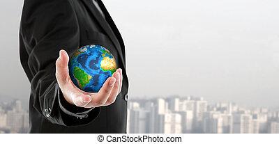 zakenmens , vasthouden, de, kleine wereld, in, zijn, hand,...