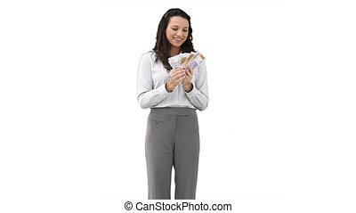 zakenmens , vasthouden, een, ventilator, van, contant, in, haar, handen