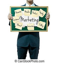 zakenmens , vasthouden, plank, op, de, achtergrond,...