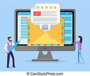 zakenmens , vrouwenholding, over, verzending, boodschap, samenwerking, potlood, notification., het vertellen