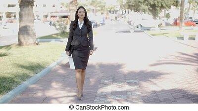 zakenmens , wandelende, in, de, straat