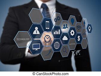 zakenmens , werkende , met, moderne, computer, interface, als, informatie technologie, concept